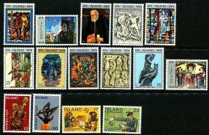 Iceland 1974 Cpl year set; Europa, settlement, UPU. Very good. MNH