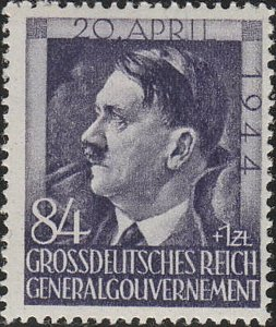 Stamp Germany Poland General Gov't Mi 119 Sc NB35 WW2 Adolf Birthday 1944 MNH