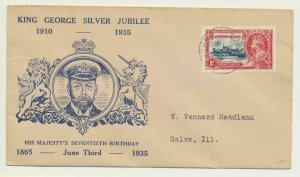 LEEWARD IS 1935 1d ON SILVER JUBILEE FIRST DAY COVER, ILLUST, TO US(SEE BELOW