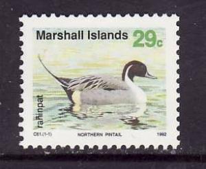 Marshall Is.-Sc#356-unused NH 29c Northern Pintail-Birds-1990-2-