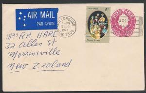 AUSTRALIA 1979 7c envelope uprated 5c commem used to New Zealand...........55841