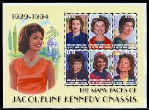 Grenada Carriacou MNH S/S Jacqueline Kennedy Onassis 6 Stamps