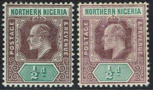 NORTHERN NIGERIA 1905 KEVII 1/2D BOTH PAPERS WMK MULTI CROWN CA
