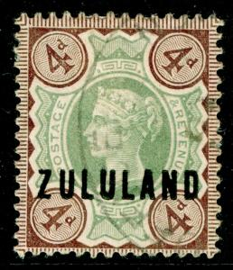 SOUTH AFRICA - Zululand SG6, 4d green & deep brown, USED. Cat £70.