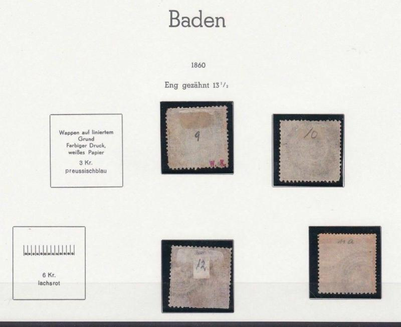 GERMANY BADEN 1860  USED  STAMPS  CAT £400+  REF 4021