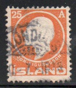 Iceland  Sc 91 1911 25 aur Jon Sigurdsson stamp used