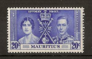 Mauritius 1937 20c Line in Margin Variety MNH