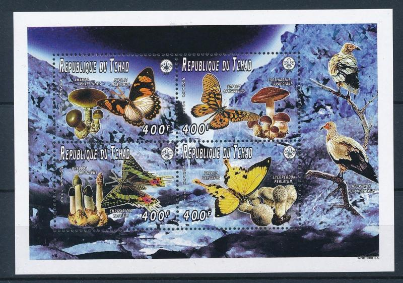 [26872] Chad 1996 Butterflies Schmetterlingen Papillons Mushrooms MNH  Sheet