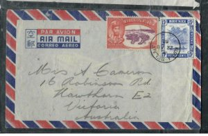 BRUNEI COVER (P1608B)  1950 SILVER JUBILEE 25C+ 15C A/M COVER TO AUSTRALIA  KB
