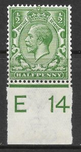 N14(8) ½d Yellow Green Control E 14 imperf UNMOUNTED MINT