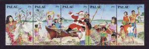 Palau-Scott#317-Unused NH strip-Santa-Christmas-1993-