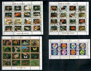 4 Umm Al Qiwain CTO Souvenir Sheets: Fish, Butterflies and Space
