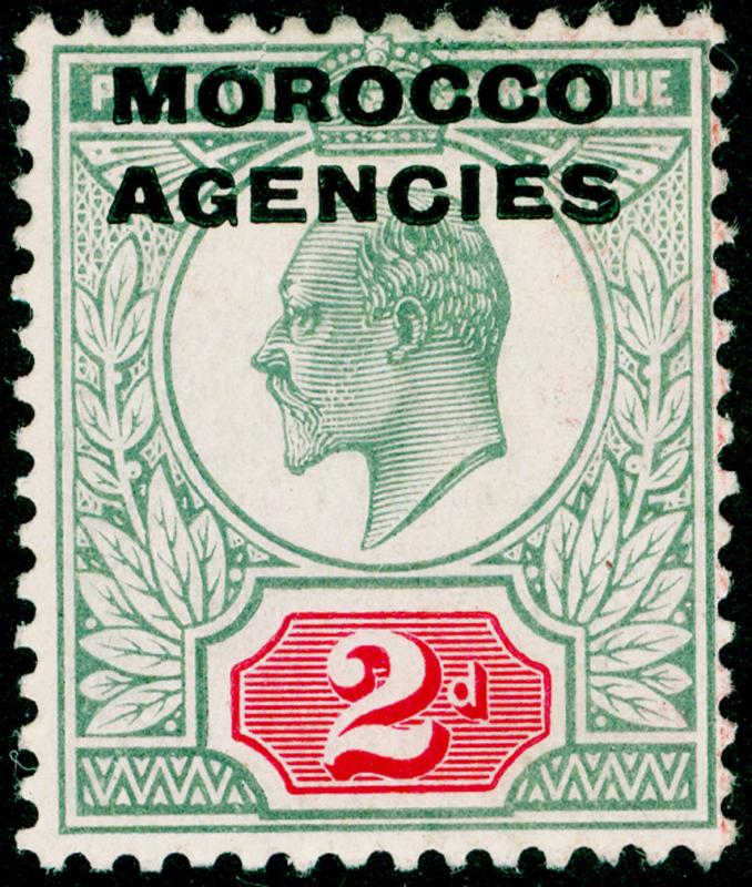 MOROCCO AGENCIES SG33, 2d pale grey-green & carmine-red, M MINT. Cat £10.