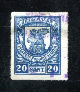 x199 - LATVIA Jelgava 1920s Municipal REVENUE Stamp. 20 Sant Used. Rouletted
