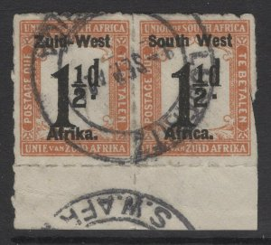 SOUTH WEST AFRICA SGD8 1923 1½d BLACK & YELLOW-BROWN-BROWN USED