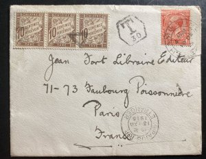 1915 England Postage Due Cover To Paris France