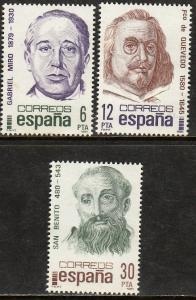SPAIN 2239-2241, FAMOUS PEOPLE COMMEMORATIONS. MINT, NH. F-VF. (163)