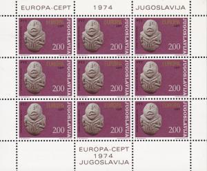 Yugoslavia 1974 ART Sculptures EUROPA Mini-Sheets of 9. Set Complete VF/NH/(**)