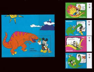 Uganda 1993 Mickey Mouse & Dinosaurs 8 Stamp Set + 2 S/S 21D-130