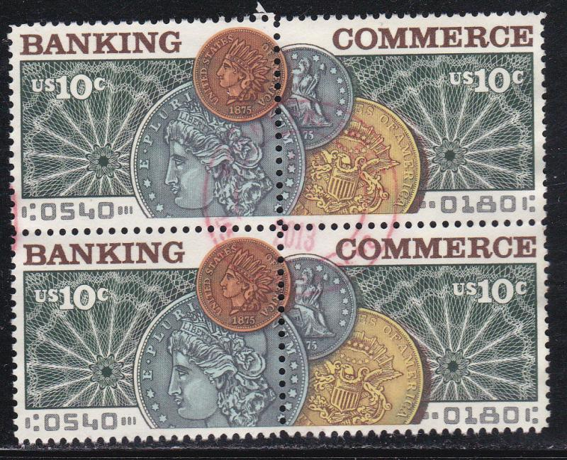 U.S. 1578a, Banking & Commerce, Used Block of Four