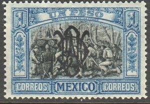 MEXICO 464SP, $1P VILLA MONOGRAM REVOLUT OVPERPRINT INVERTED UNUSED, H OG. VF.