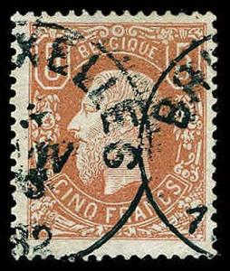 BELGIUM-a-1849-1911 ISSUES (to 91) 39a  Used (ID # 65823)