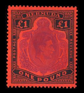 BERMUDA  1942  KGVI  £1 black & violet salmon   Scott# 128b mint MH VF