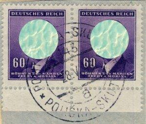 BÖHMEN u. MAHREN - 1943  POLITSCHKA - SKUTSCH  TPO n°143a bilingual CDS /Mi.90