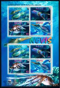 [66838] Nevis 2009 Marine Life Squid WWF Sheet MNH