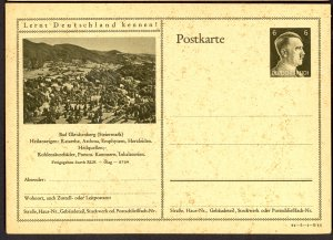 GERMANY 1941 6pf HITLER HEAD Learn to Know Germany Postal Card 41-3-1-B11 Unused