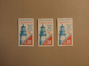 USPS Scott 2470-74 25c Lighthouse 3 Books 1990 60 Stamps ...