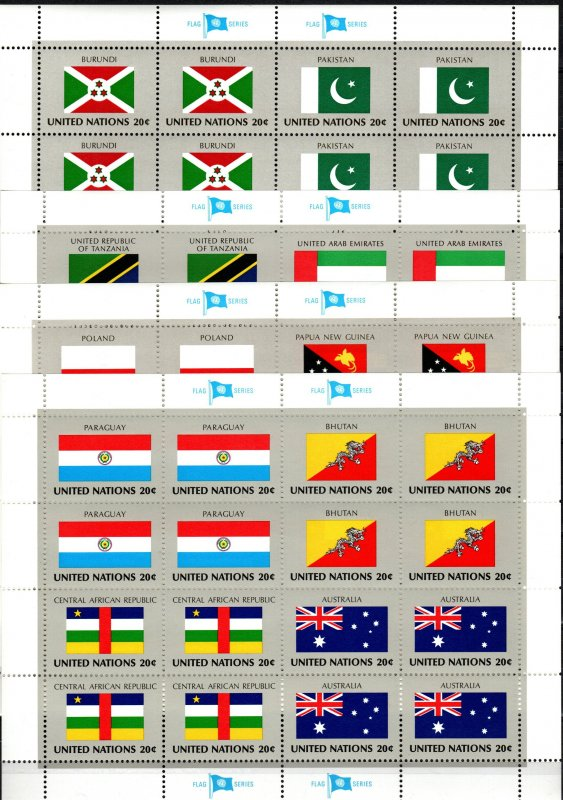 United Nations #425-40  MNH Flag  Sheets CV $16.00 (X2293L)