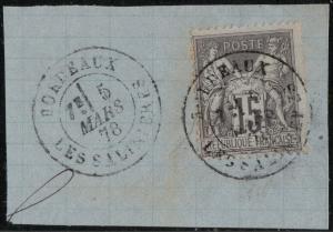 FRANCE 1878 CàD  BORDEAUX / LES SALINIÈRES  sur Yv.77 15c Sage sur fragment