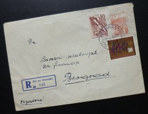 Yugoslavia 1964 Uprated Registered Postal Stationery Slovenia to Serbia A7