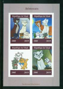 CHAD 2019  ARISTOCATS  SHEET IMPERFORATE   MINT NEVER HINGED