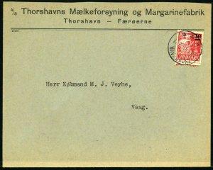 FAROE ISLANDS #4 Tórshavn to Vágur Cover 1941 Kingdom of Denmark