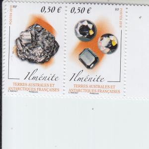 2018 FSAT Fr Antarctic Minerals Ilmenite Pair (Scott 584) MNH
