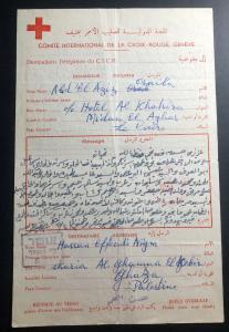 1956 Israel Prisoner of War Letter Cover Red Cross Suez Crisis To Gaza Palestine
