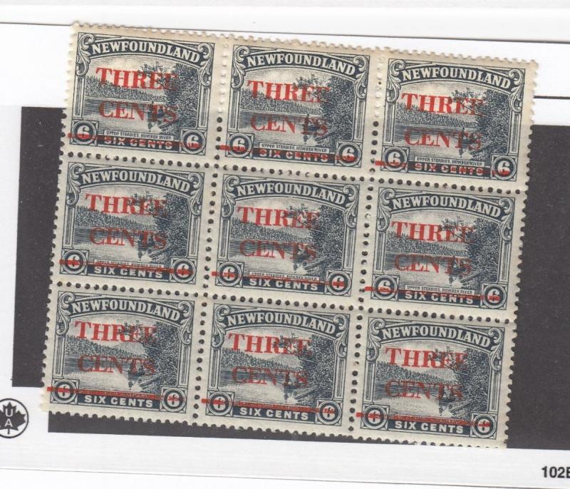 NEWFOUNDLAND SUPERB # 160 VF-MNH BLOCK OF 9 SURCHARGED CAT VALUE $90++++