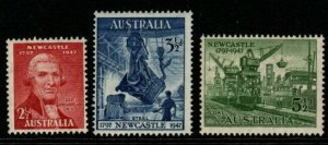 AUSTRALIA SG219/21 1947 150th ANNIV OF CITY OF NEWCASTLE MNH