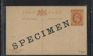CYPRUS COVER (P1908B)  1911 KE 10 P REPLY  PSC BOTH CARDS OVPT SPECIMEN
