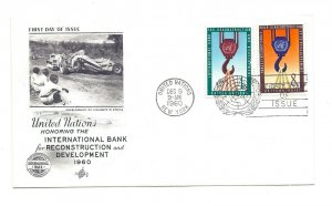 UN 82-83 Int'l Bank for Reconstruction and Development  on ArtCraft 8c, FDC