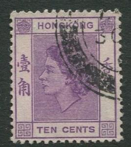 Hong Kong - Scott 186 - QEII - Definitive - 1954 - FU - Single 10c Stamp