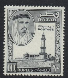 QATAR SG37 1961 10r BLACK MTD MINT
