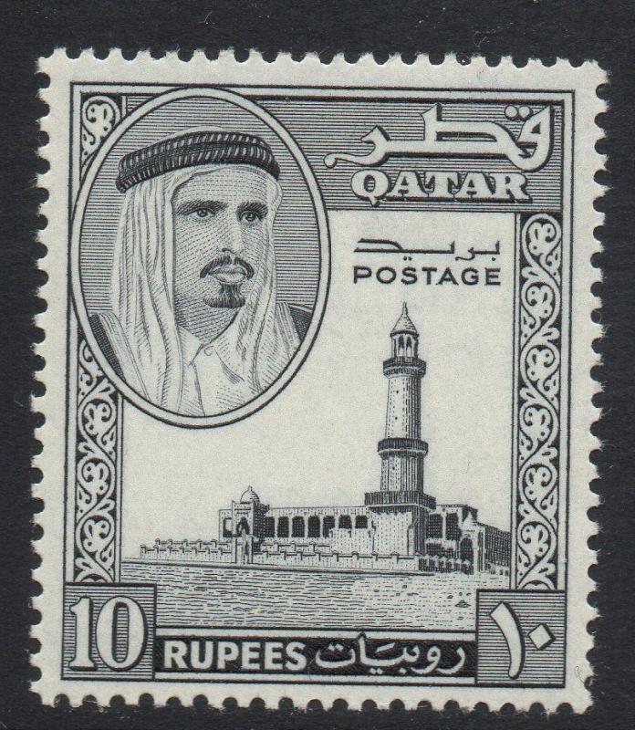 QATAR SG37 1961 10r BLACK MTD MINT
