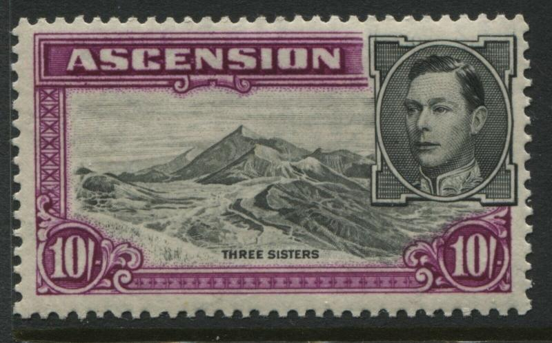 Ascension KGVI 1944 10/ mint o.g. aniline red purple perf 13