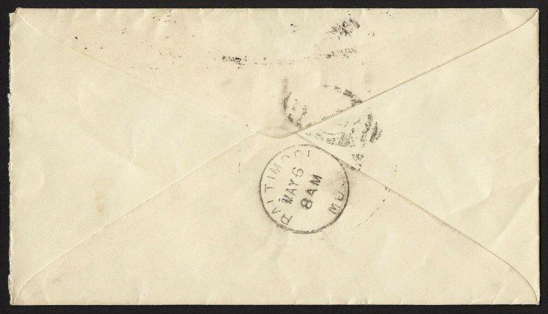 E34 U.S. Scott #E3 orange Special Delivery cover May 5, 1894. SCV = $200