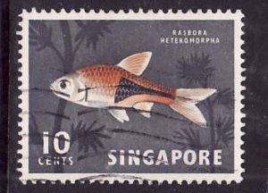 Singapore-Sc#57-used 10c dk gray & red orange-Fish-1962-