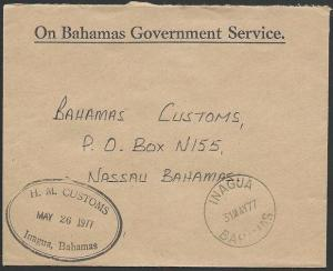 BAHAMAS 1977 Official cover INAGUA Customs & cds...........................49108