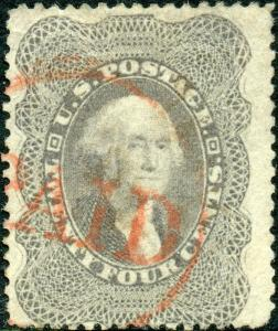 #37 USED FINE SINGLE RED PAID CANCEL CV $465 BM3437